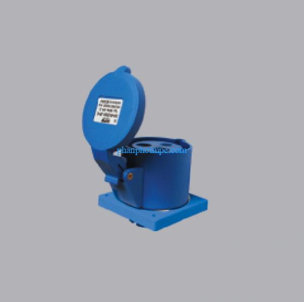 Ổ cắm cố định bắt trên bảng điện màu xanh 16A-240V 2P+E-IP67 MPN-3132 2