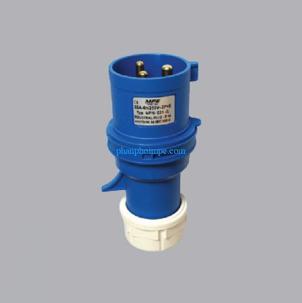 Phích cắm loại di động có kẹp giữ dây màu xanh, 16A-240V 2P+E-IP67 MPN-0132 2