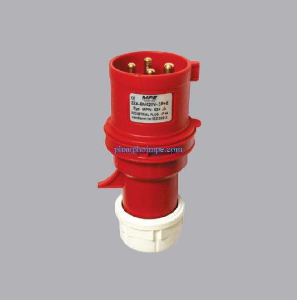 Phích cắm loại di động có kẹp giữ dây màu đỏ, 32A-380V-415V 3P+E-IP44 MPN-024 3