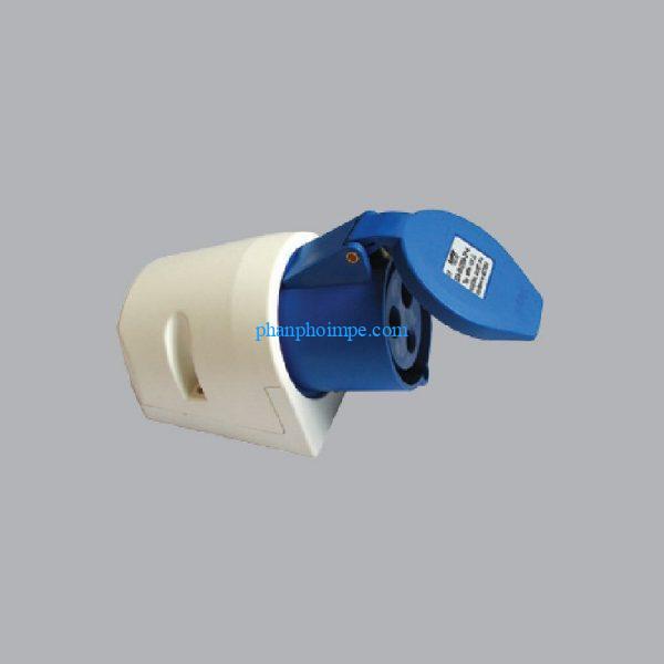 Ổ cắm cố định bắt trên tường màu xanh, 32A-240V 2P+E-IP67 MPN-1232 1
